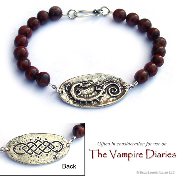 "Celtic Dragon Bracelet by Bead Lovers Korner, as seen on the season 7 premiere of ""The Vampire Diaries""."