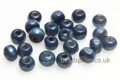 Wood Blue Round Bead