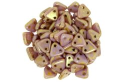 Gold Lustred Rose 2-Hole Triangle Beads