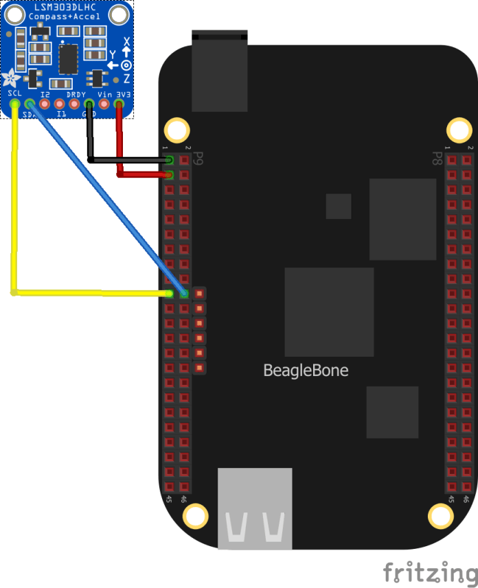 beaglebone and LSM303DLHC layout