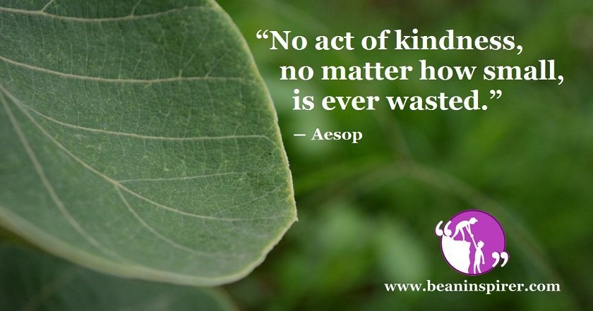 """""""No act of kindness, no matter how small, is ever wasted."""" ― Aesop"""