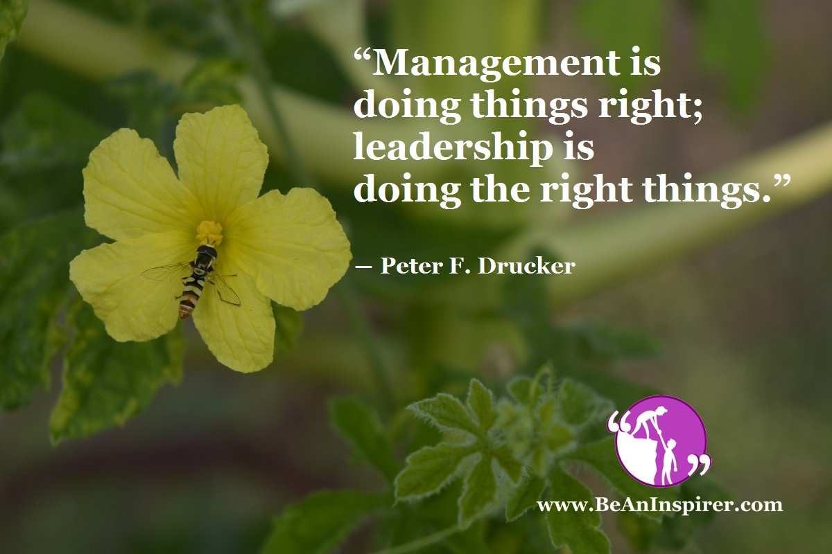 """Management is doing things right; leadership is doing the right things."" ― Peter F. Drucker"