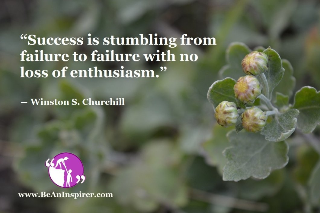 """Success is stumbling from failure to failure with no loss of enthusiasm."" ― Winston S. Churchill"