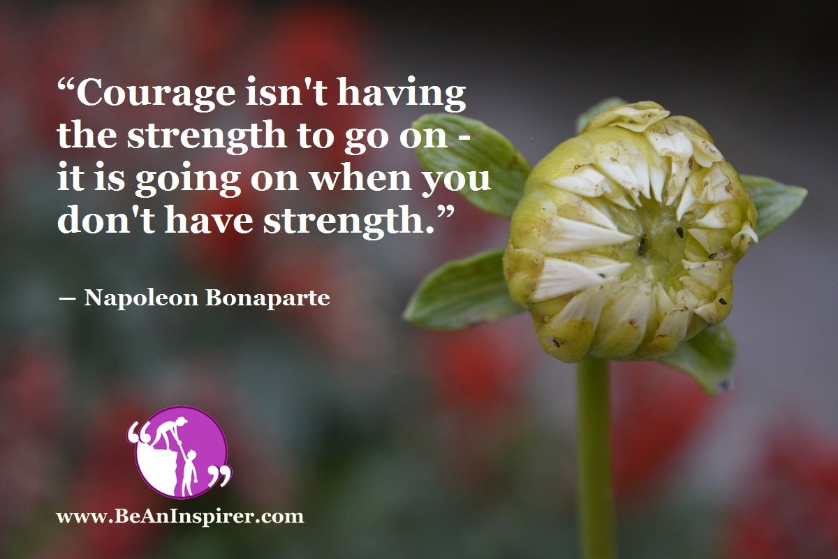 """Courage isn't having the strength to go on - it is going on when you don't have strength."" ― Napoleon Bonaparte"