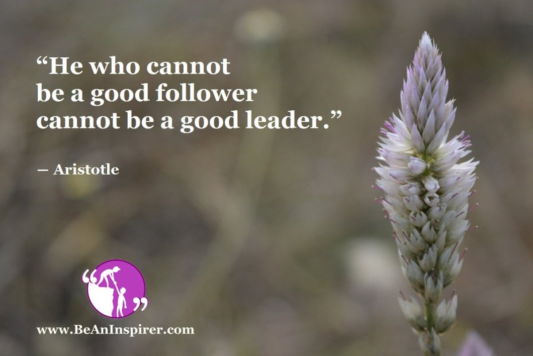"""He who cannot be a good follower cannot be a good leader."" ― Aristotle"