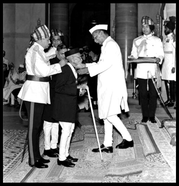 Receiving the Bharat Ratna from Dr. Rajendra Prasad, the First President of India in 1958