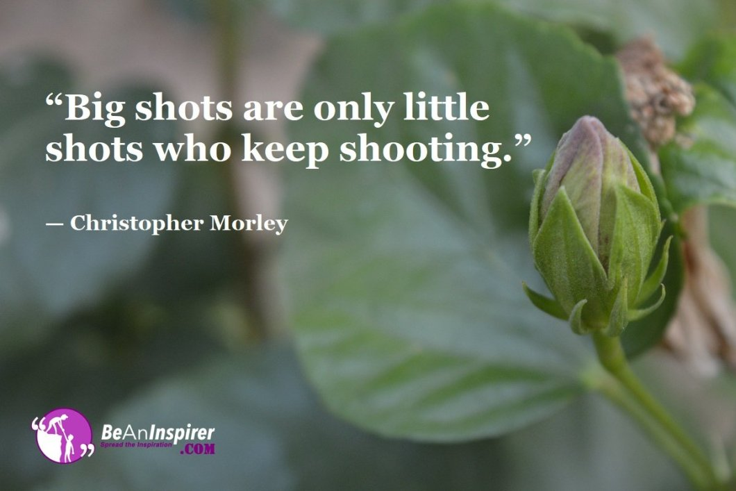 """Big shots are only little shots who keep shooting."" — Christopher Morley"