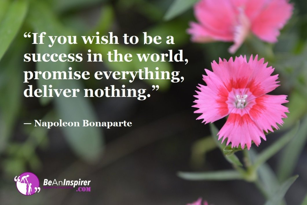 """""""If you wish to be a success in the world, promise everything, deliver nothing."""" — Napoleon Bonaparte"""