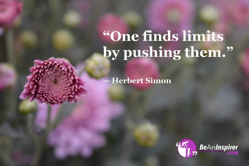 """""""One finds limits by pushing them."""" — Herbert Simon"""
