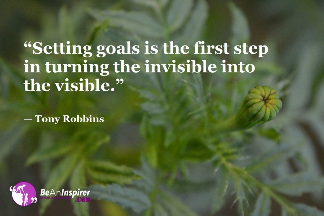 """Setting goals is the first step in turning the invisible into the visible."" — Tony Robbins"
