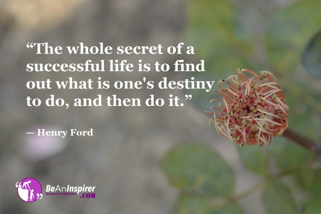 """""""The whole secret of a successful life is to find out what is one's destiny to do, and then do it."""" — Henry Ford"""