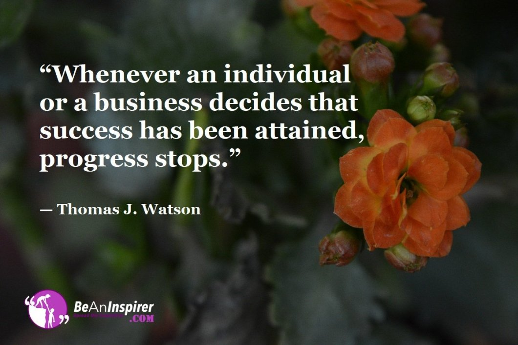 """""""Whenever an individual or a business decides that success has been attained, progress stops."""" — Thomas J. Watson"""
