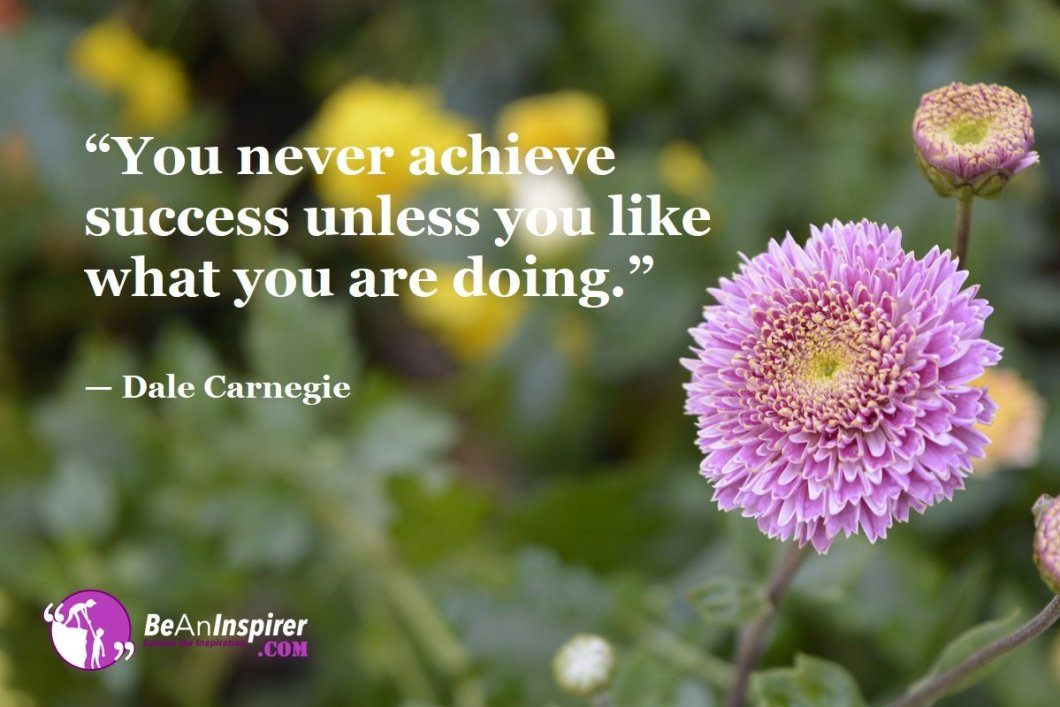 """""""You never achieve success unless you like what you are doing."""" — Dale Carnegie"""