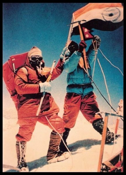 H.P.S. Ahluwalia on the summit of Mount Everest.