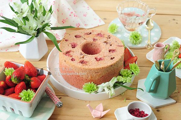 櫻花草莓戚風蛋糕【少糖,零油脂,沒有泡打粉】Sakura Strawberry Chiffon Cake Recipe