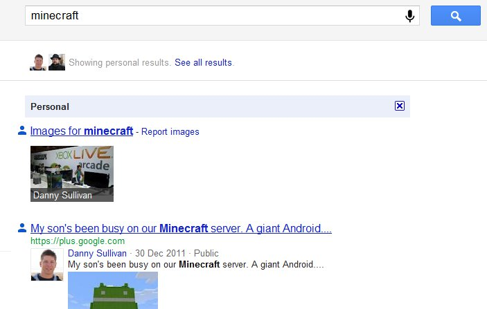 Demonstration of Search plus Your World using the phrase 'minecraft'.
