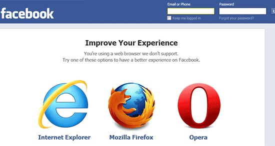 Facebook Unsupported Browsers
