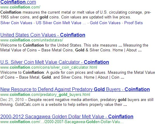Google Search results for Coinflation