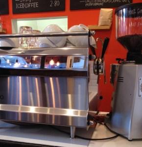 espresso machine, metal, reflection