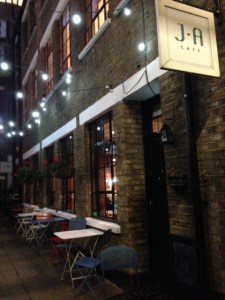 Exterior of J and A cafe (the bar is on the other side of the passageway)