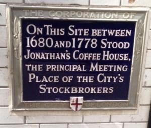 Jonathan's coffee house plaque