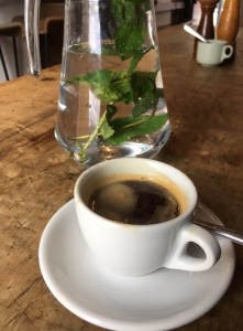 Coffee and mint water in New Cross