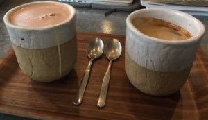 drinks in ceramic mugs, Westbourne Grove