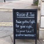 signboard at Rosie and Joe