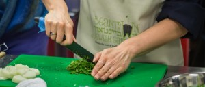 chopping herbs