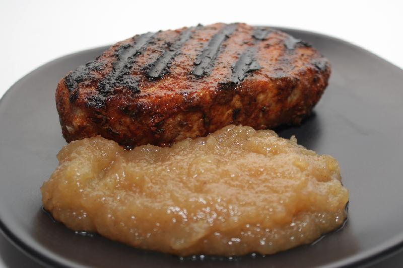 Vanilla Brined Pork Chops with Applesauce for #AppleWeek
