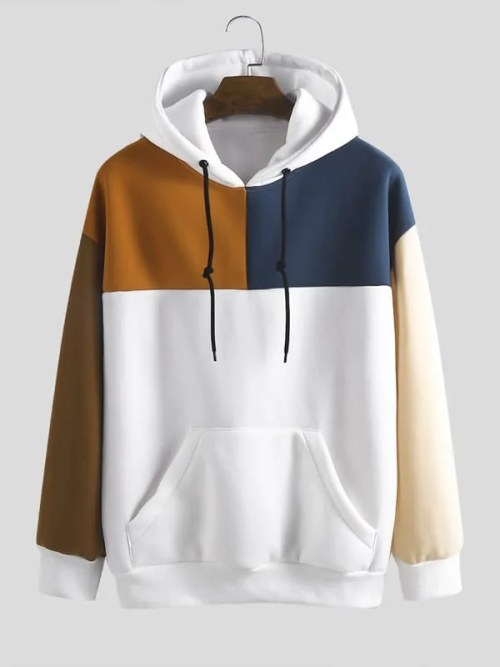 Mens Loose New Fashion Casual Color Matching Stitching Sweatshirt