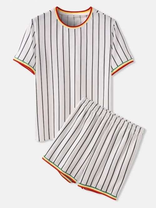 Vertical Stripes Short Sleeve Two Piece Pyjama Set