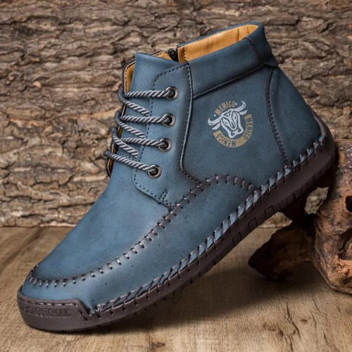 Menico Mens Hand Stitching Microfiber Leather Rubber Ankle Boots