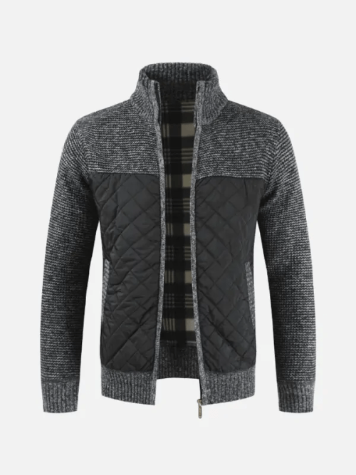 Mens Winter Casual Fleece Thick Stitching Knitted Coat