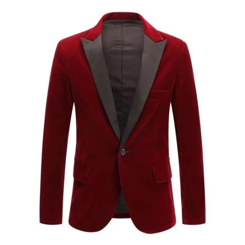 Velvet Wine Red Black Fashion Leisure Suit Jacket