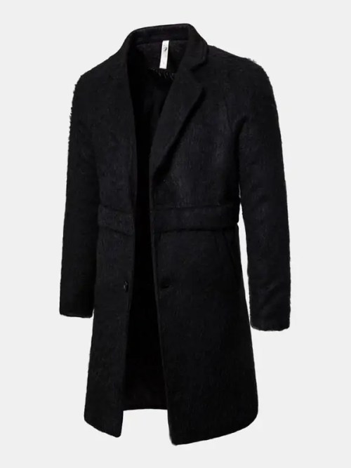 Bearboxers Mens Luxe Single-Breasted Warm Trench Coat - BLACK