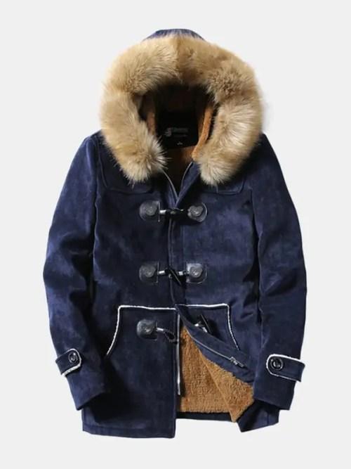 Bearboxers Mens Furry Hooded Fleece Parka