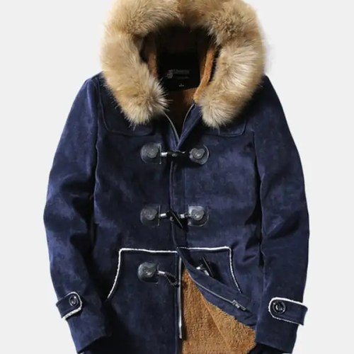 Bearboxers Mens Furry Hooded Fleece Parka