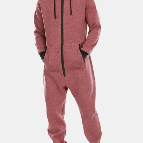Mens Cotton Hooded Pocket Long Sleeve Home Jumpsuit Zipper Sleepwear