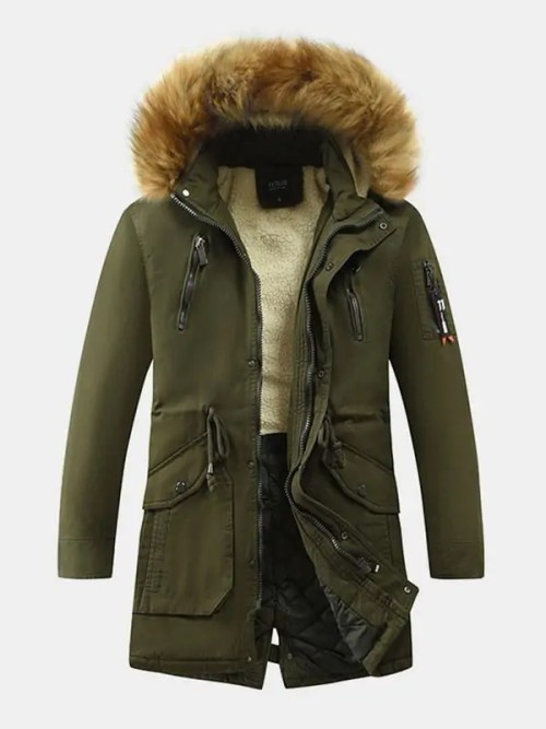 Mens Faux Fur Collar Thicken Drawstring Waist Mid-Length Hooded Coats