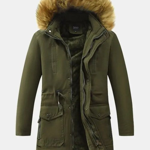 Mens Warm Fur Hooded Drawstring Coat