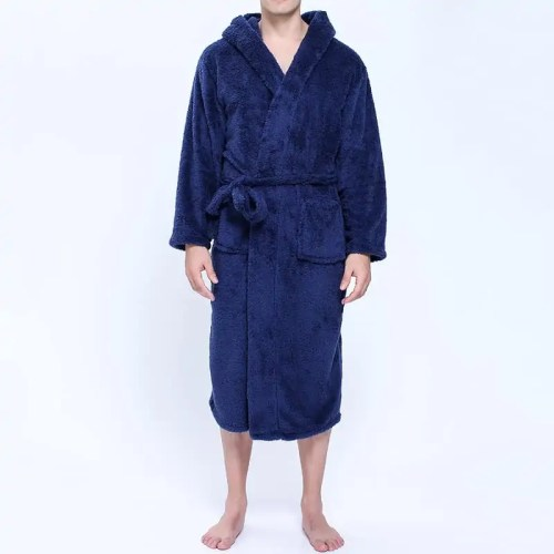 Men Flannel Pockets Bathrobe Pajama Hooded Sleepwear Robe