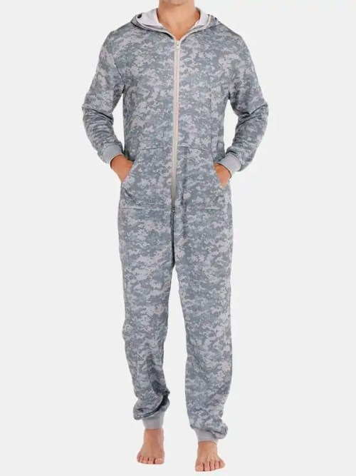 Men Grey Camo Loungewear Jumpsuit Thicken Thermal Loose Zip