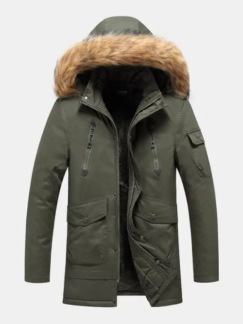 Bearboxers Menswear - Multi Pocket Detachable Faux Fur Hooded Parka