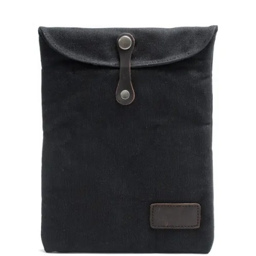 Canvas Genuine Leather Hasp Ipad Bags 10'' Protective Cover Pouch Bag
