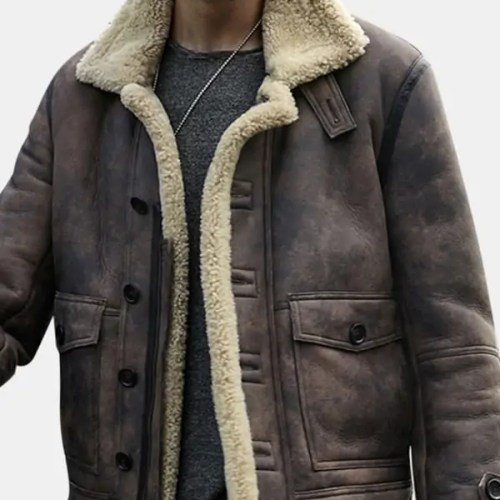 Shearling Big Pocket Faux Leather Biker Jacket