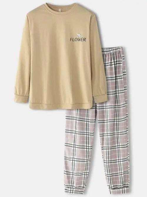 Mens Cotton Letter Print Round Neck Cozy Pajamas Sets With Plaid Pants