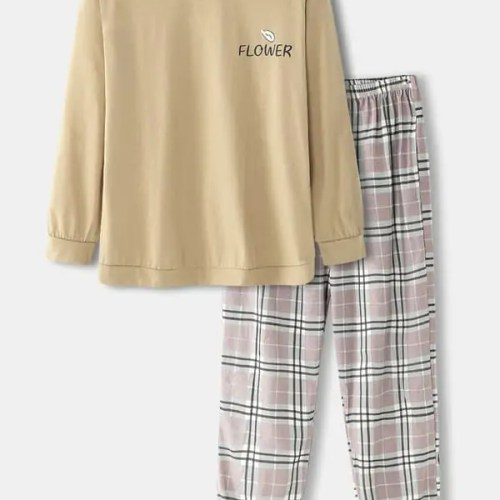 Mens Cotton Letter Print Round Neck Cozy Pajamas Sets With Plaid Pants