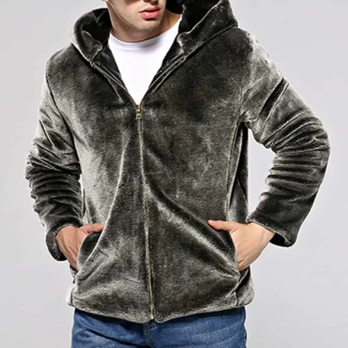 Mens Winter Warm Hooded Zipper Faux Fur Coat Jacket