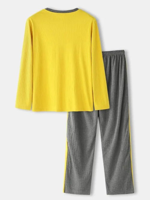 Mens Jacquard Letter Pattern V-Neck Long Sleeve Top Side Stripe Pyjama Set